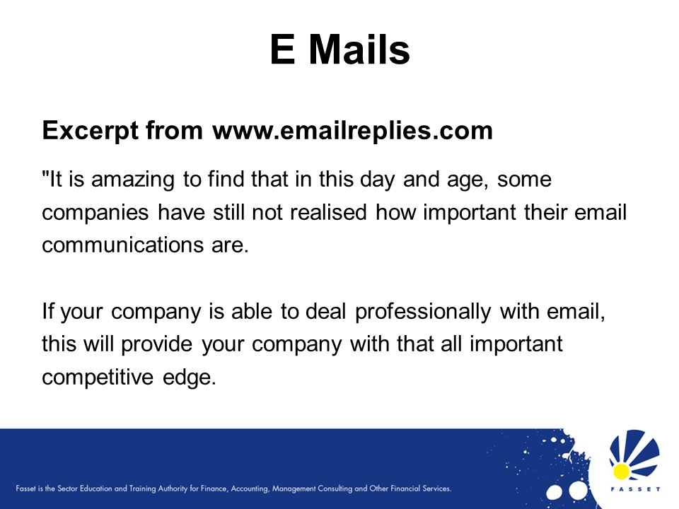 E Mails Excerpt from www.emailreplies.com