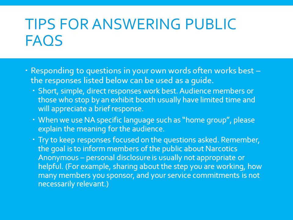 Tips for Answering Public FAQs