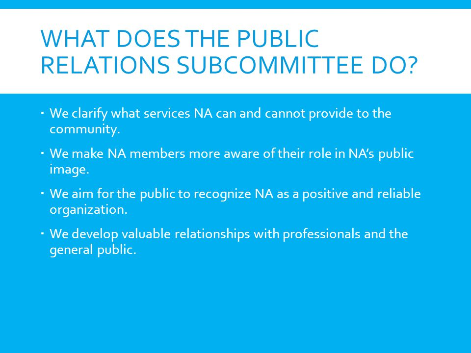 What does the Public Relations Subcommittee do