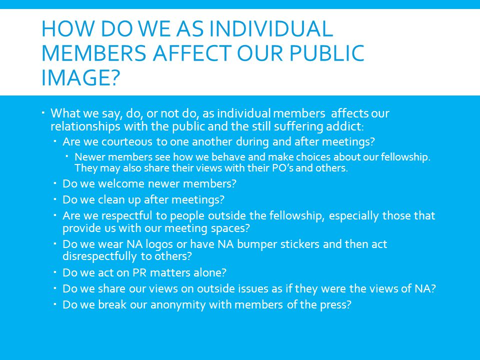 How do we as individual members affect our public image