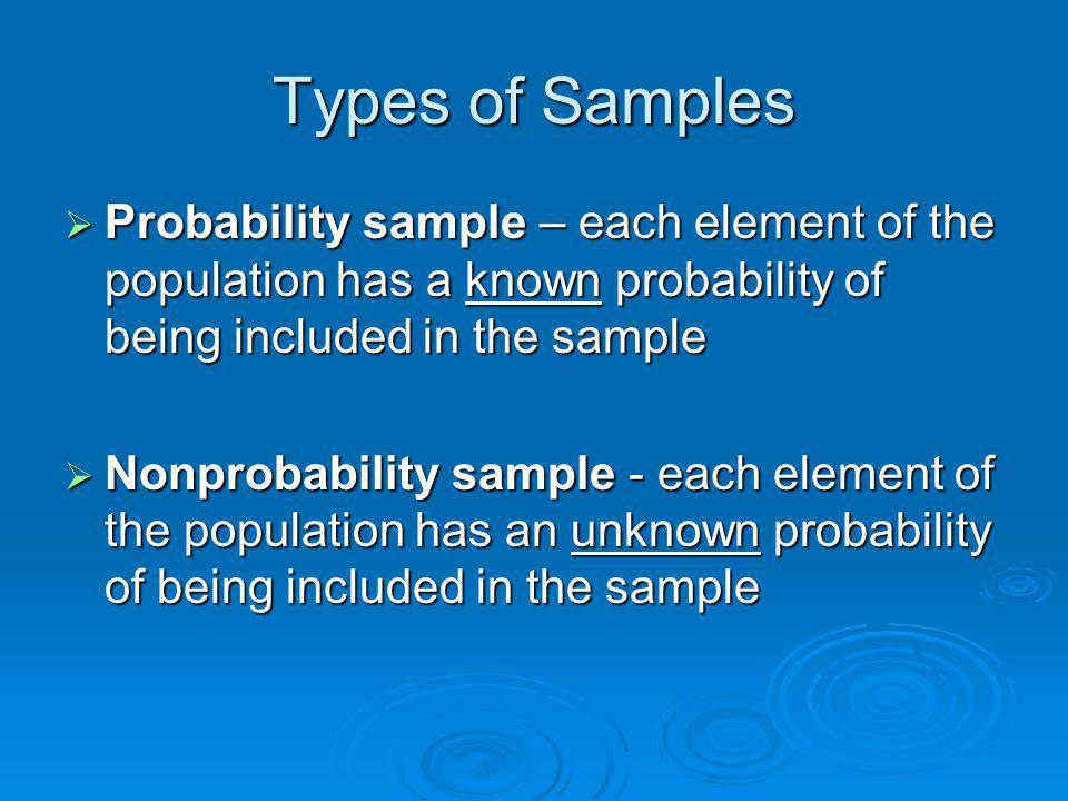 Types of Samples Probability sample – each element of the population has a known probability of being included in the sample.