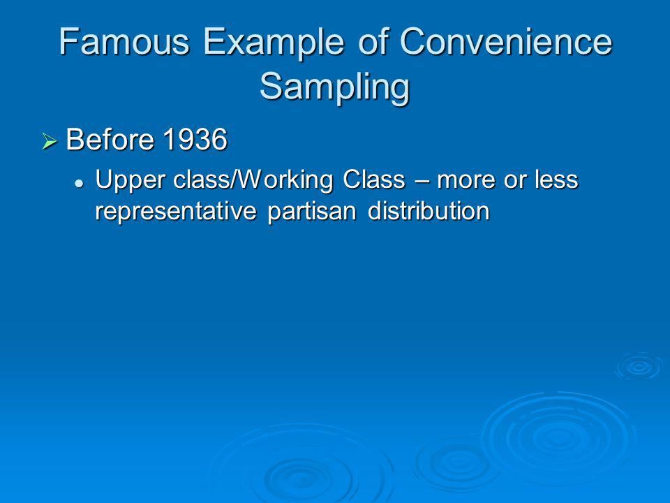 Famous Example of Convenience Sampling