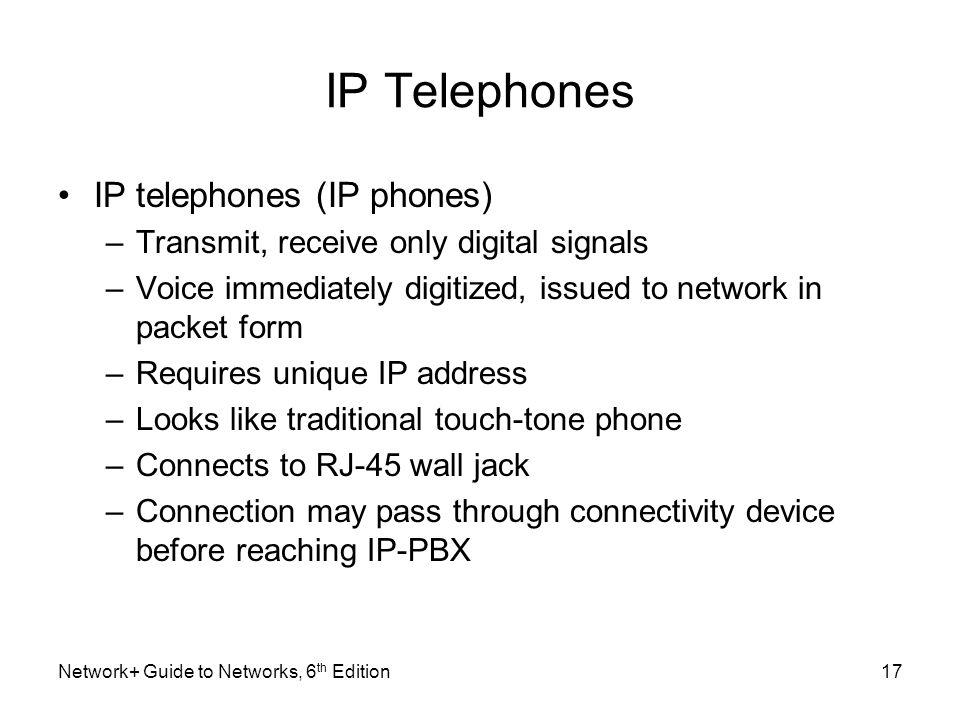 IP Telephones IP telephones (IP phones)