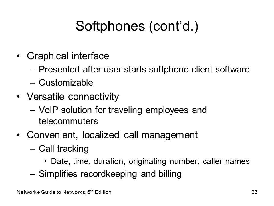 Softphones (cont'd.) Graphical interface Versatile connectivity