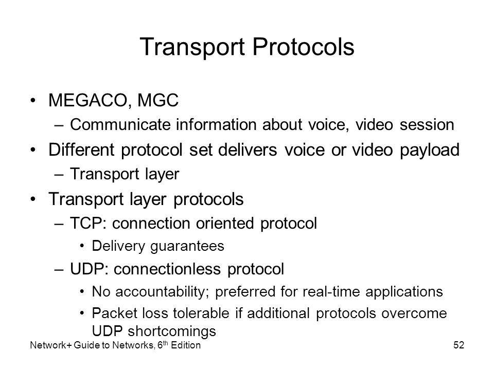 Transport Protocols MEGACO, MGC