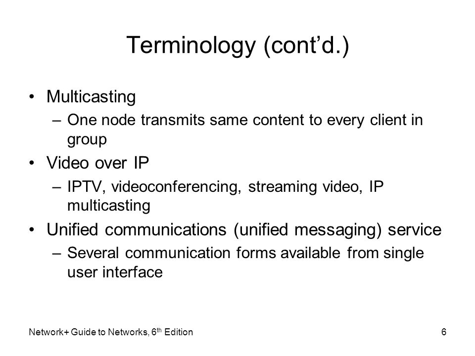 Terminology (cont'd.) Multicasting Video over IP