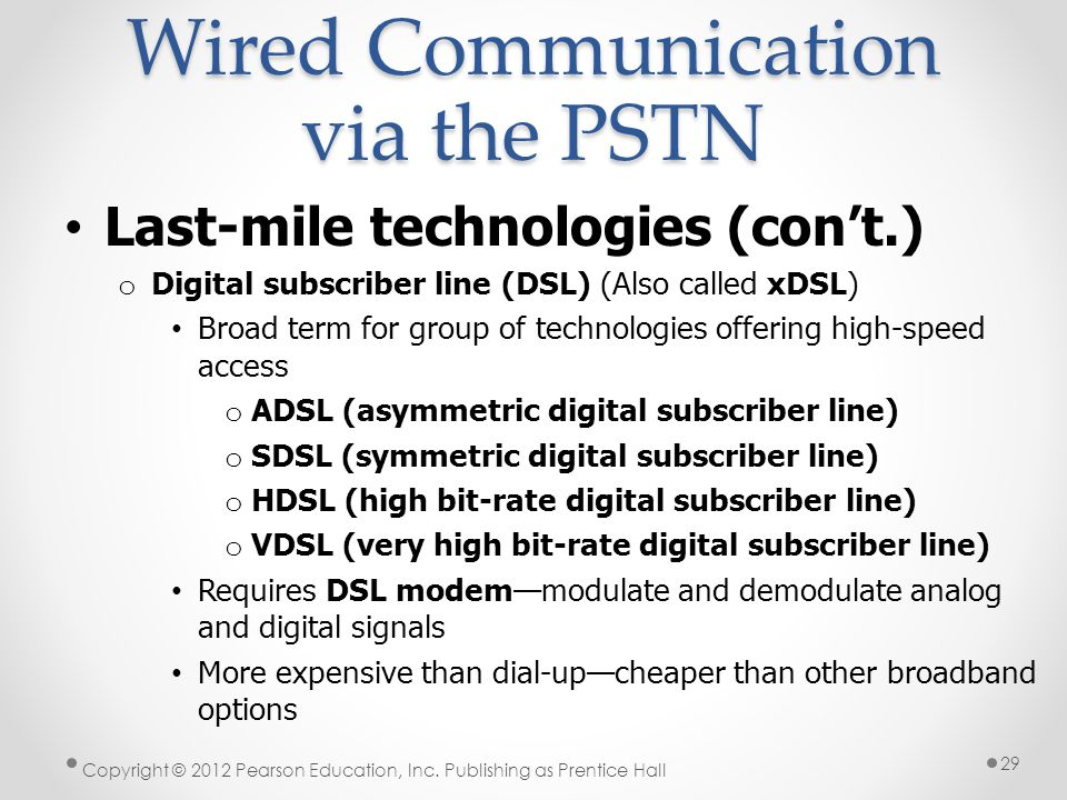 Wired Communication via the PSTN