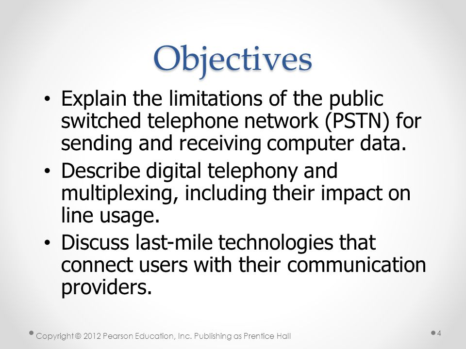 * Objectives. 07/16/96. Explain the limitations of the public switched telephone network (PSTN) for sending and receiving computer data.