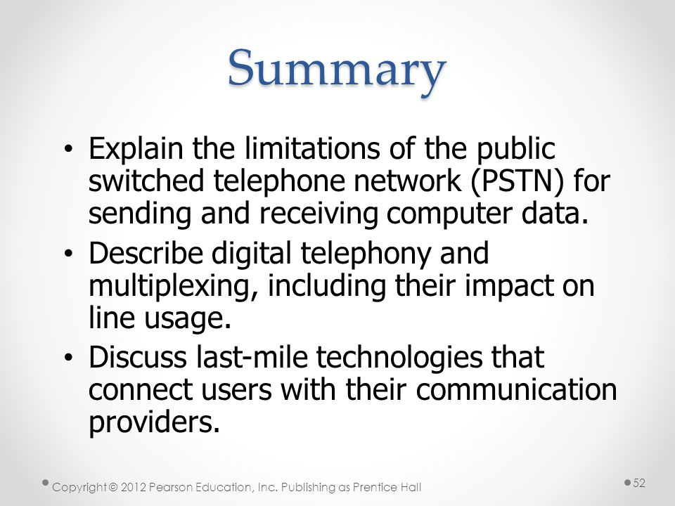 * Summary. 07/16/96. Explain the limitations of the public switched telephone network (PSTN) for sending and receiving computer data.