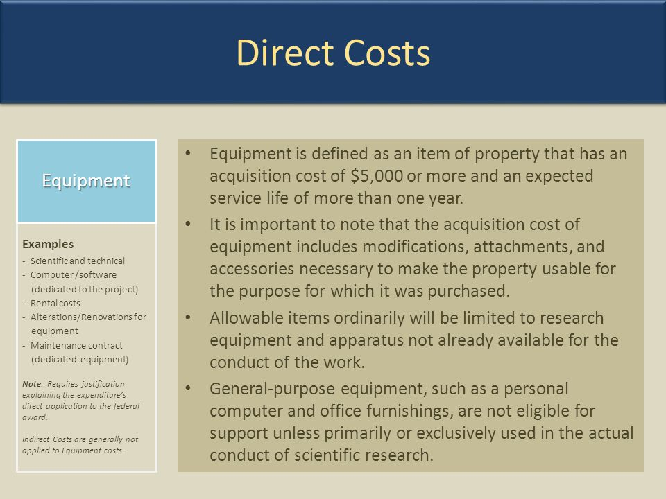 Direct Costs Equipment