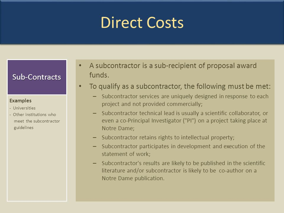 Direct Costs Sub-Contracts