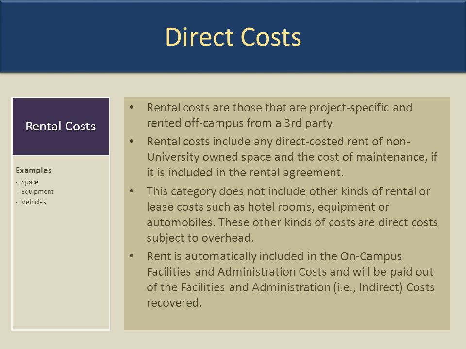 Direct Costs Rental Costs