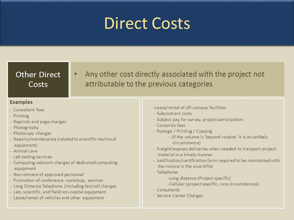 Direct Costs Other Direct Costs
