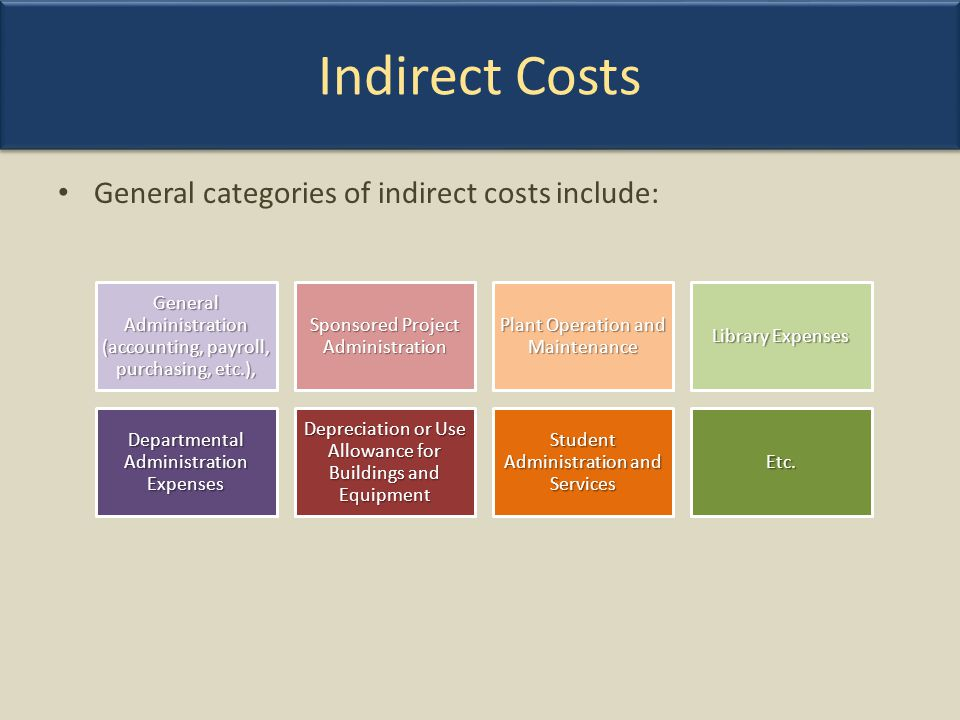 Indirect Costs General categories of indirect costs include: