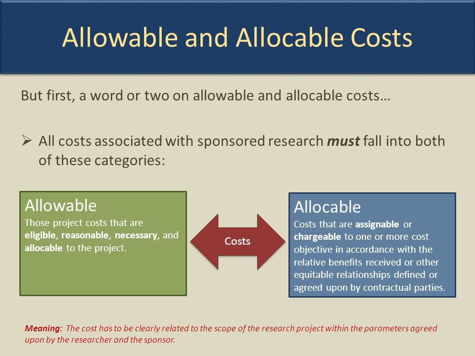 Allowable and Allocable Costs
