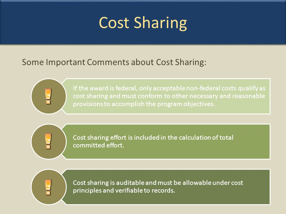Cost Sharing Some Important Comments about Cost Sharing: