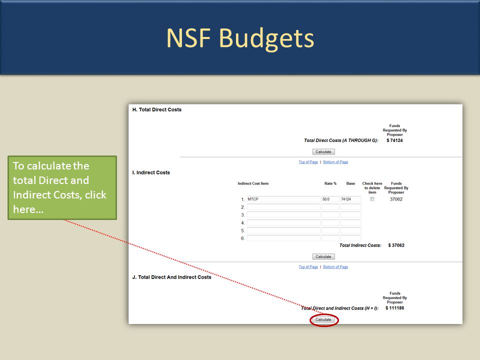 NSF Budgets To calculate the total Direct and Indirect Costs, click here…