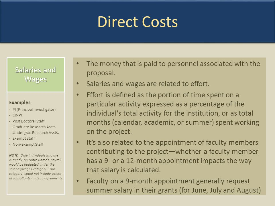 Direct Costs Salaries and Wages