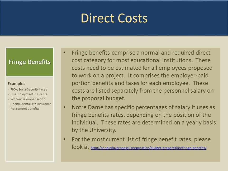 Direct Costs Fringe Benefits