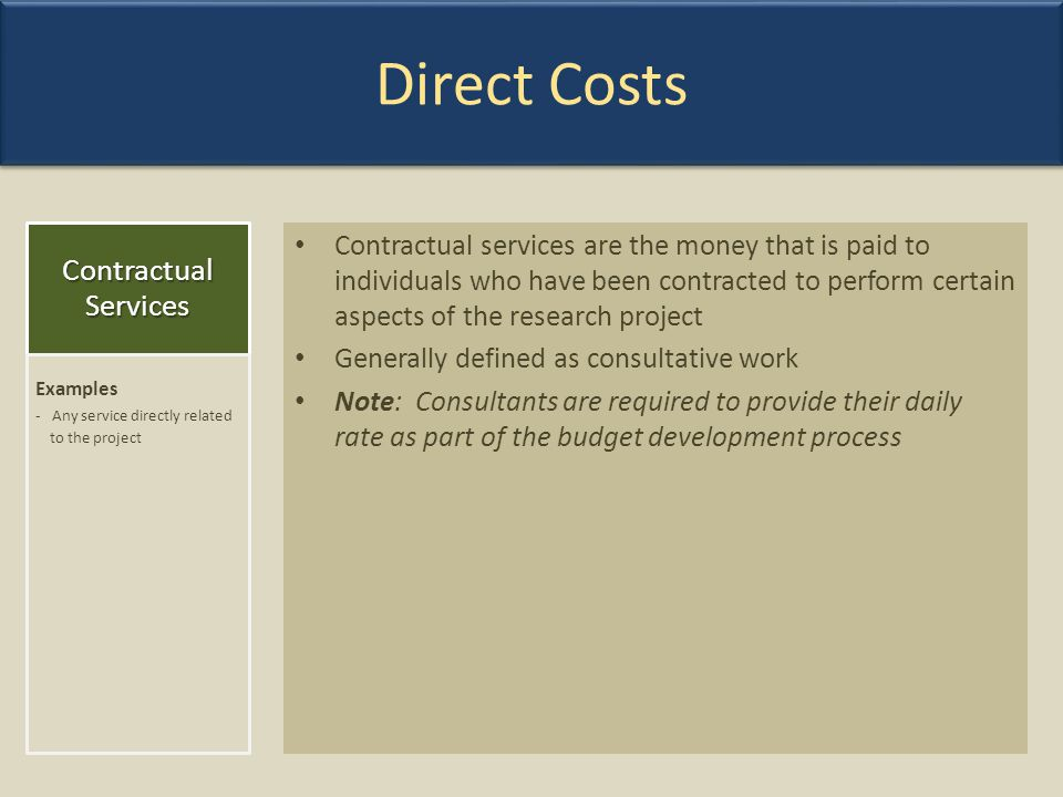 Direct Costs Contractual Services