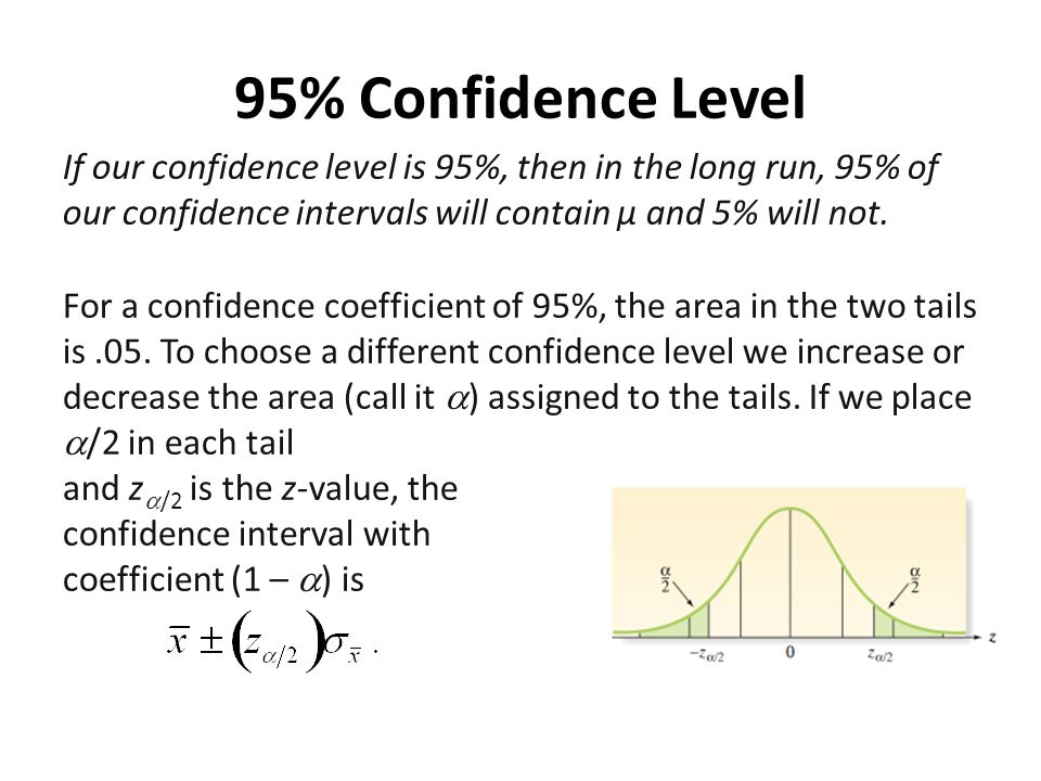 95% Confidence Level If our confidence level is 95%, then in the long run, 95% of our confidence intervals will contain µ and 5% will not.