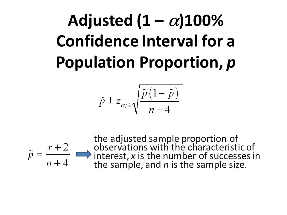 Adjusted (1 – )100% Confidence Interval for a Population Proportion, p