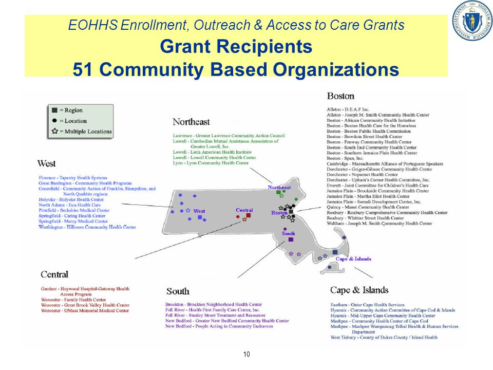 EOHHS Enrollment, Outreach & Access to Care Grants Grant Recipients 51 Community Based Organizations