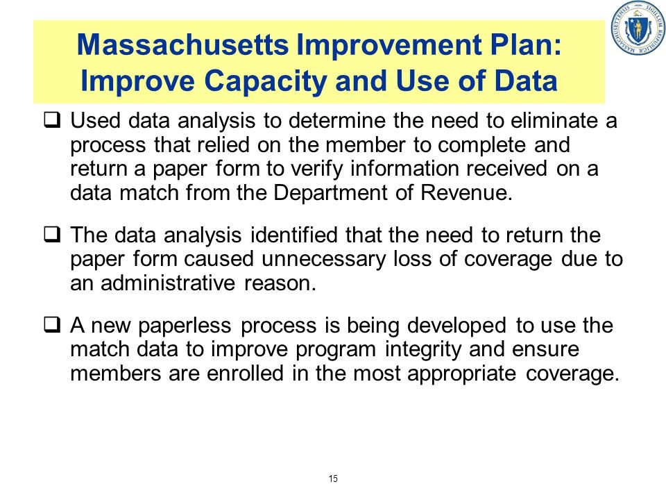 Massachusetts Improvement Plan: Improve Capacity and Use of Data