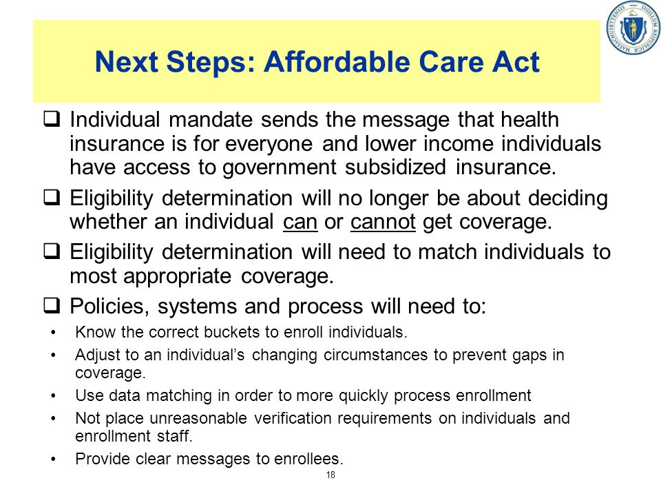 Next Steps: Affordable Care Act