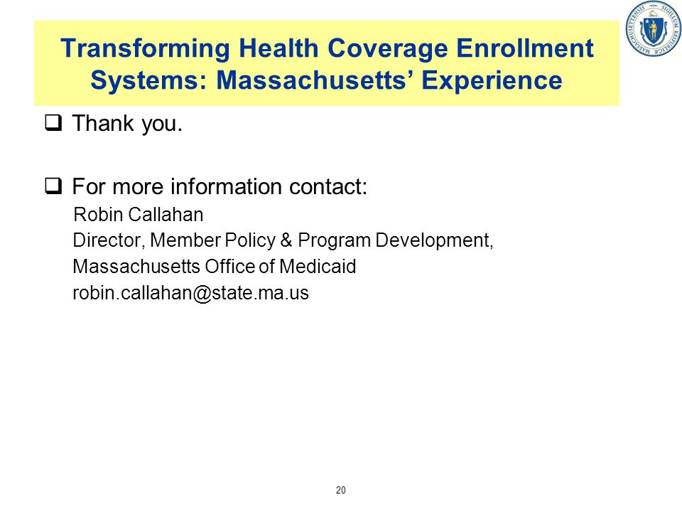 Transforming Health Coverage Enrollment Systems: Massachusetts' Experience