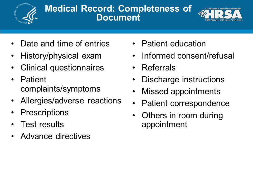Medical Record: Completeness of Document