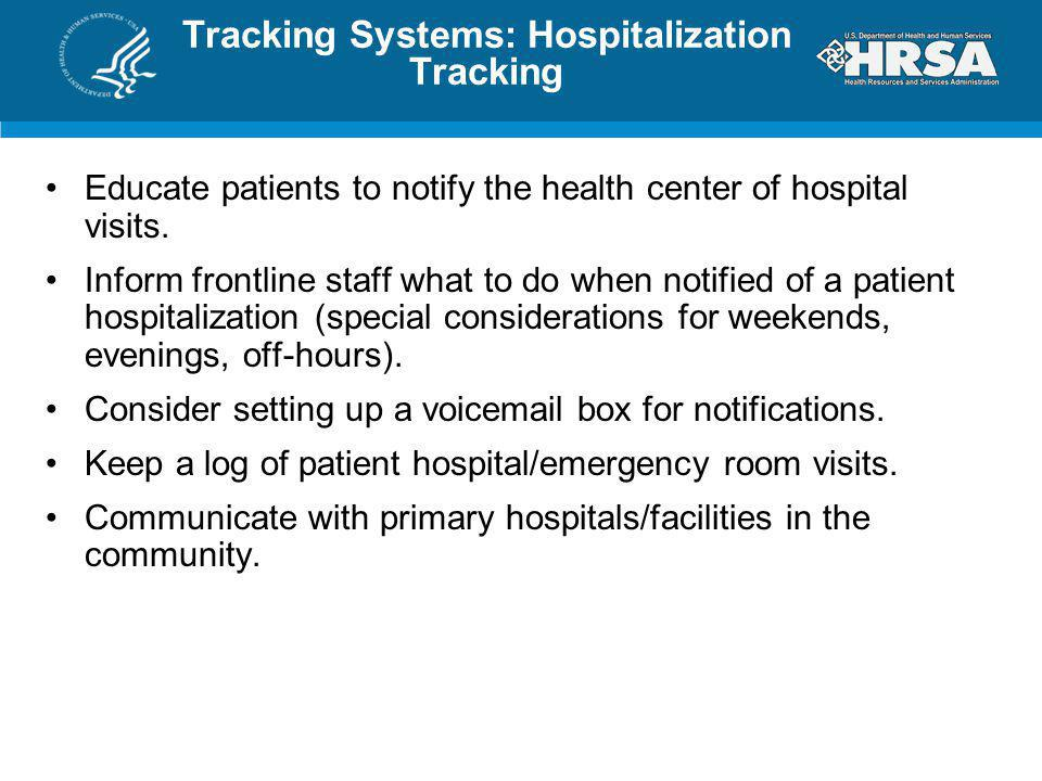 Tracking Systems: Hospitalization Tracking