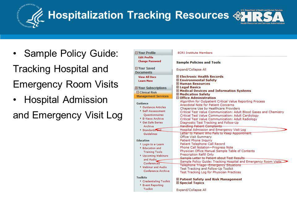 Hospitalization Tracking Resources