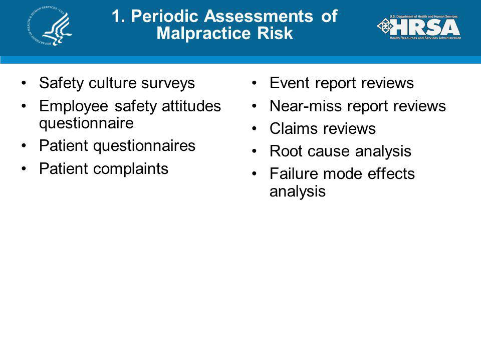 1. Periodic Assessments of Malpractice Risk