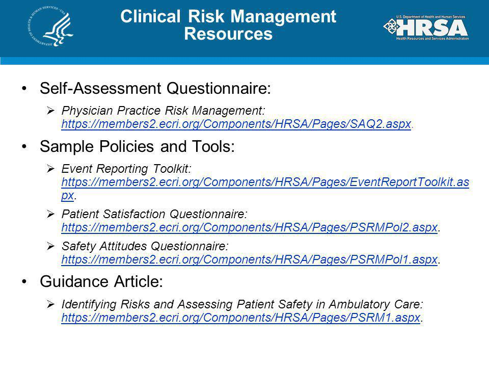 Clinical Risk Management Resources