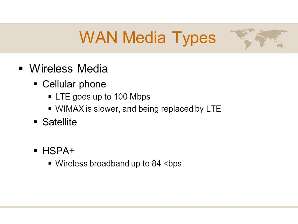 WAN Media Types Wireless Media Cellular phone Satellite HSPA+