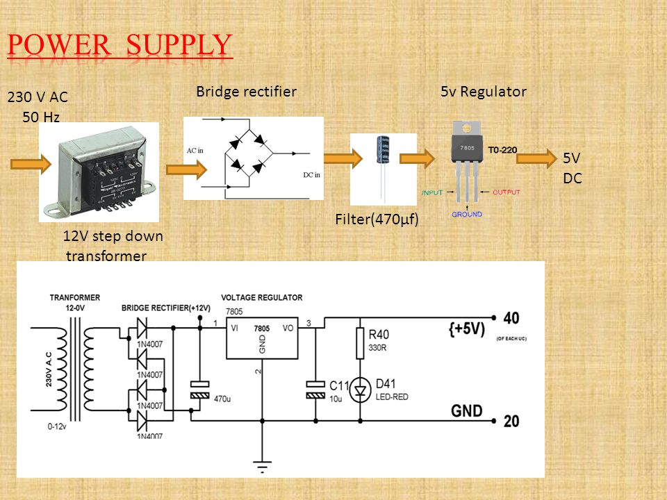 POWER SUPPLY Bridge rectifier 5v Regulator 230 V AC 50 Hz 5V DC