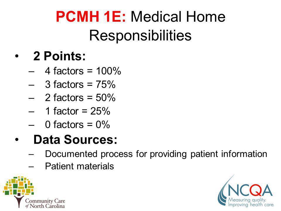 PCMH 1E: Medical Home Responsibilities