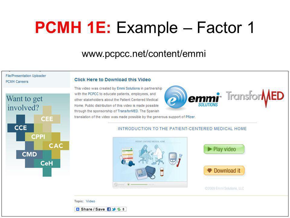 PCMH 1E: Example – Factor 1