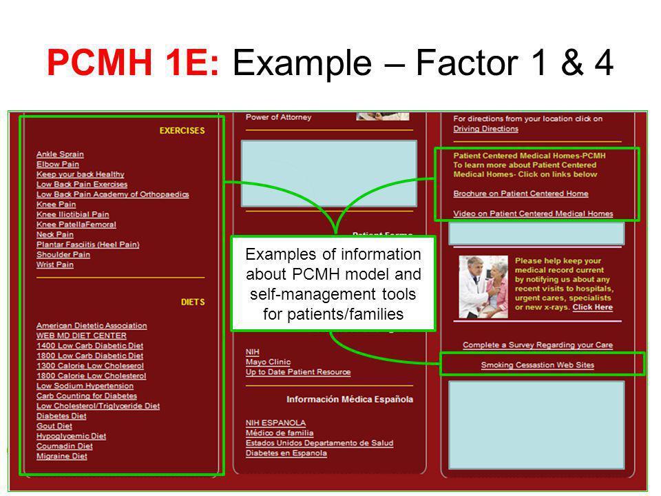PCMH 1E: Example – Factor 1 & 4