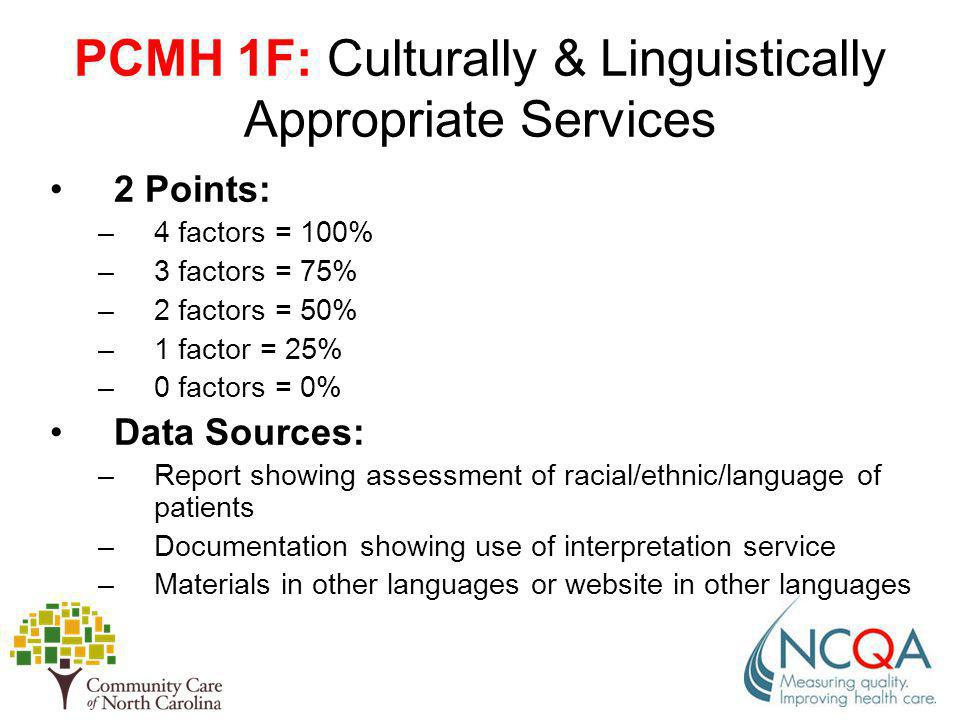 PCMH 1F: Culturally & Linguistically Appropriate Services