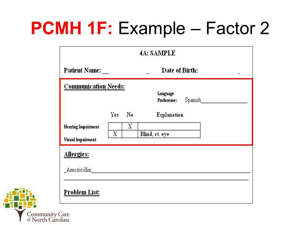PCMH 1F: Example – Factor 2
