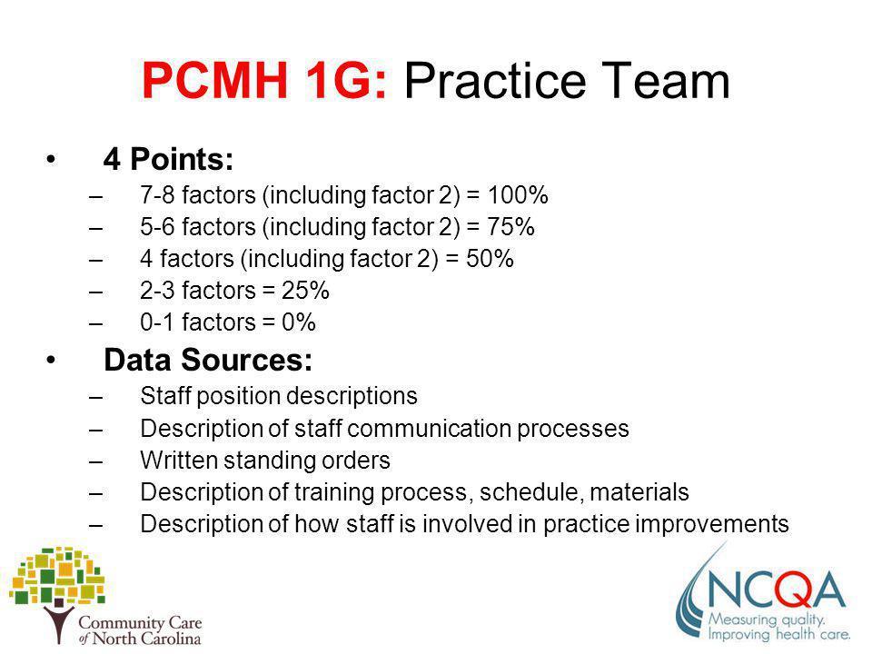 PCMH 1G: Practice Team 4 Points: Data Sources: