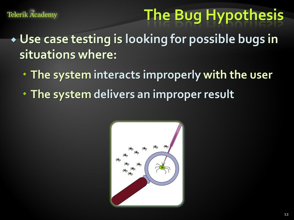 The Bug Hypothesis Use case testing is looking for possible bugs in situations where: The system interacts improperly with the user.
