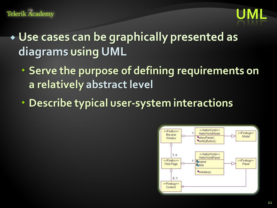 UML Use cases can be graphically presented as diagrams using UML