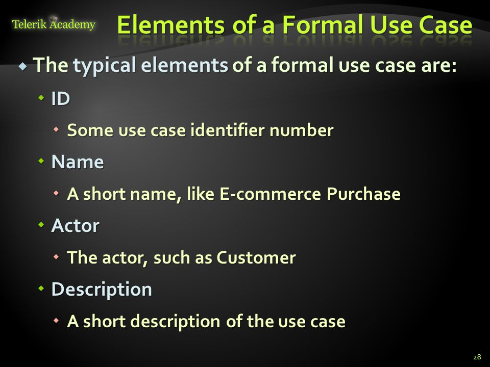 Elements of a Formal Use Case