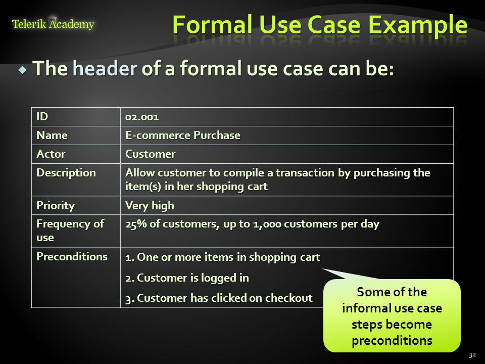 Formal Use Case Example
