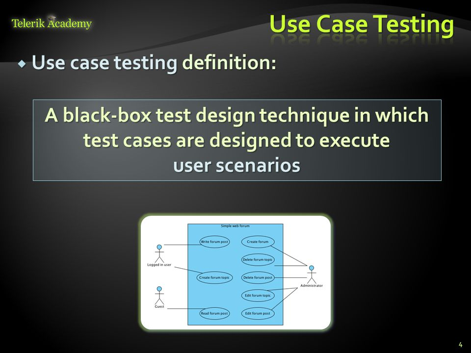 Use Case Testing Use case testing definition: