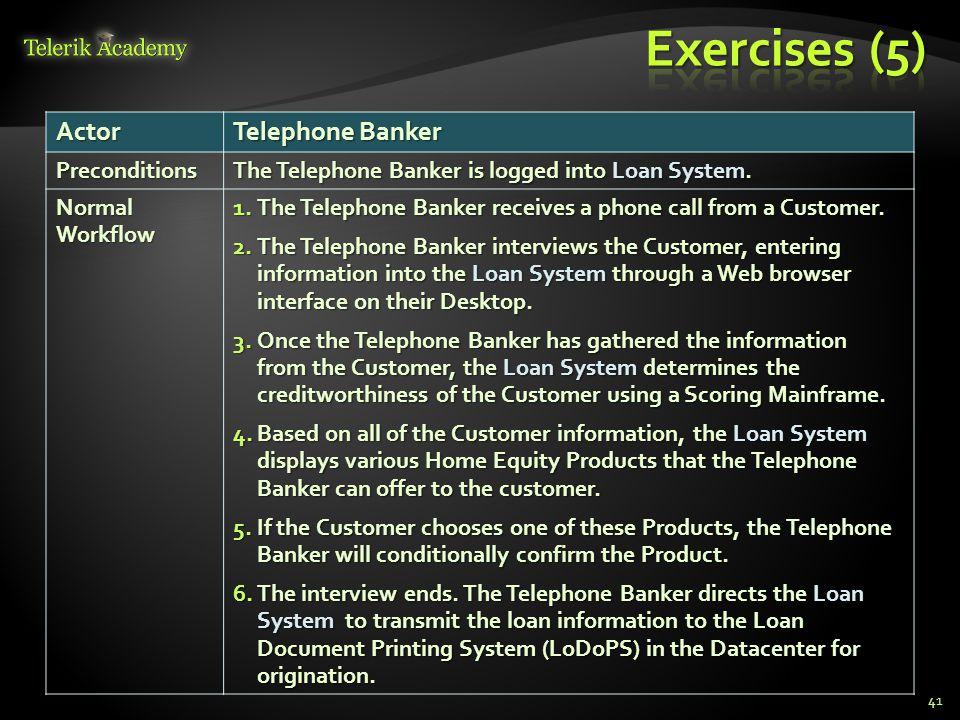 Exercises (5) Actor Telephone Banker Preconditions