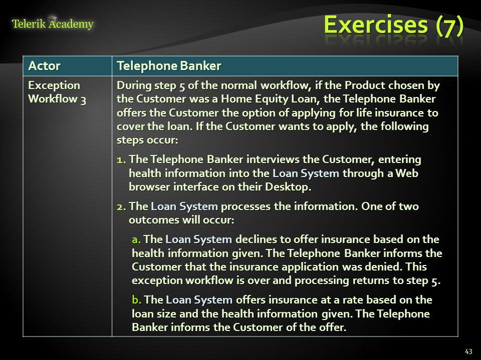 Exercises (7) Actor Telephone Banker Exception Workflow 3